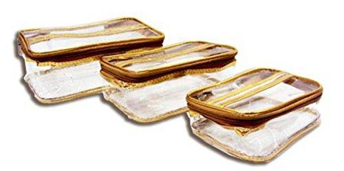 3 PC Travelling Kit Multi Purpose Utility Cosmetic Bag Toilet Organiser Medicine - Golden BIG by iShine