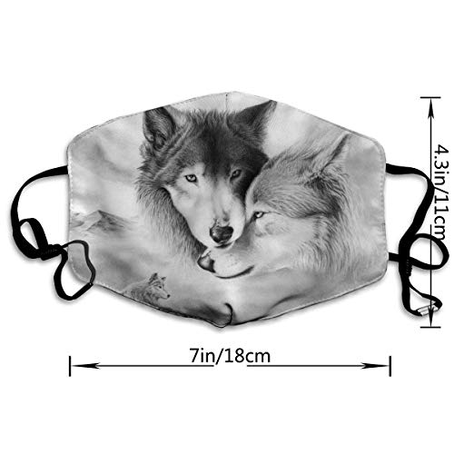 AAA.Yongfugui Wolves Unisex Anti-Dust Mouth Mask Face Mask,Anti Bacterial Washable,Reusable Masks Warm Windproof Mask Fashion Outdoor Face Masks with Design