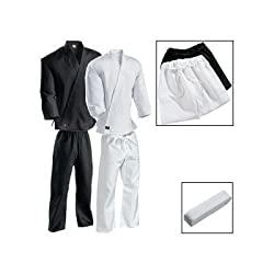 White Century Martial Arts Karate Uniform with Belt Light Weight Elastic Waistband & Drawstring for Adult & Children Size 000 - 7 from Century Martial Arts