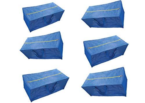 Super 6 Pack Zippered Storage Bags, Extra Large - Blue - Compatible with IKEA Frakta Storage Bag Trolley (6)