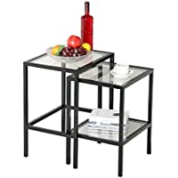 go2buy Set of 2pcs Black Metal Glass Nesting Tables Side End Tables Glass Top w/Shelf