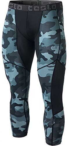 Tesla Men's Compression 3/4 Capri Shorts Baselayer Cool Dry Sports Tights MUC78/P15
