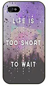 Diy For Iphone 5C Case Cover Life is too short to wait, vintage, black plastic Inspirational and motivational life quotes SURELOCK AUTHENTIC