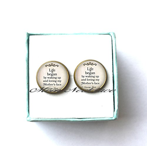 Country Lovin Halloween Costume (Charm Earrings, Dainty Earrings, Delicate Earrings,Life Began by waking up and loving my Mother's Face,quote Earrings, Mother's Day Earrings Mother's Day gift literary-ZE120)