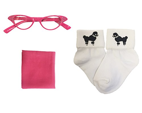50's 3 Piece Costume Accessory Set for Kids Toddler and Child (Hot Pink, Toddler)