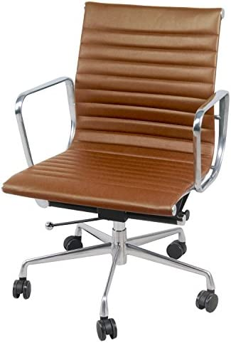 New Pacific Direct Langley PU Leather Low Back Office Chair,Chrome Legs,Vintage Tawny Brown