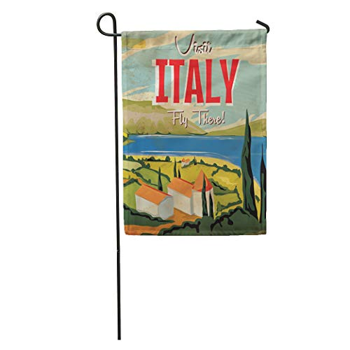 Semtomn Garden Flag Italian Visit Italy Vintage Travel Landscape Building Cartoon Vacation Classic Home Yard House Decor Barnner Outdoor Stand 12x18 Inches Flag (Best Italian Lake To Visit)
