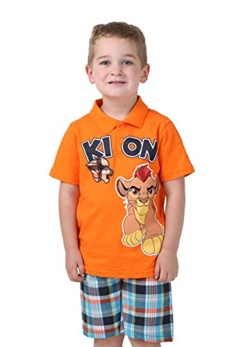 Disney Little Boys 2 Piece Lion Guard Kion Polo Shirt with Plaid Short, Orange, 2T