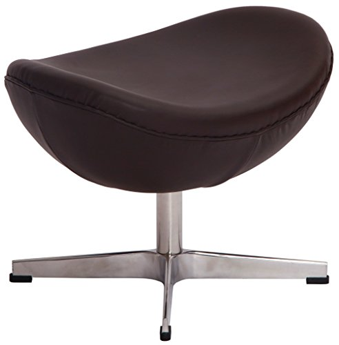 MLF Arne Jacobsen Egg Chair's Ottoman. 100% Imported Italian Leather & Hand Sewing. High Density Foam. Strong Fiberglass Inner Shell for Firm & Durability. (Fulfilled by Amazon)