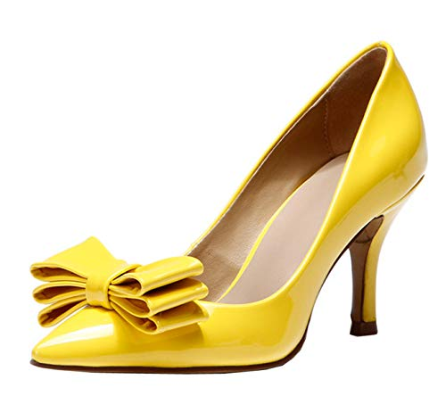 - Miyoopark KF151005 Women's Lovely Bowknot Yellow Patent Leather Spring Dress Pumps Shoes 7 M US