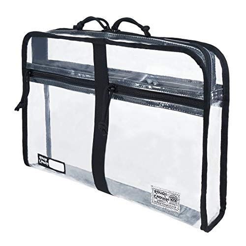 Rough Enough Clear Plastic Document Organizer Folder File Bag Pouch A4 Big Large for Paper Notebook Manila Envelopes Letter Size Case with Zipper Pockets for Filing Office School Supplies Men