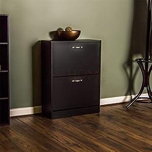 Vida Designs 2 Drawer Shoe Cabinet Cupboard Shoe Storage Organiser Pull Down Wooden Furniture Unit, Black