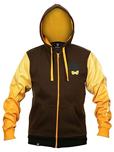 JINX Overwatch Ultimate Tracer Zip-Up Hoodie, Brown/Orange, Large