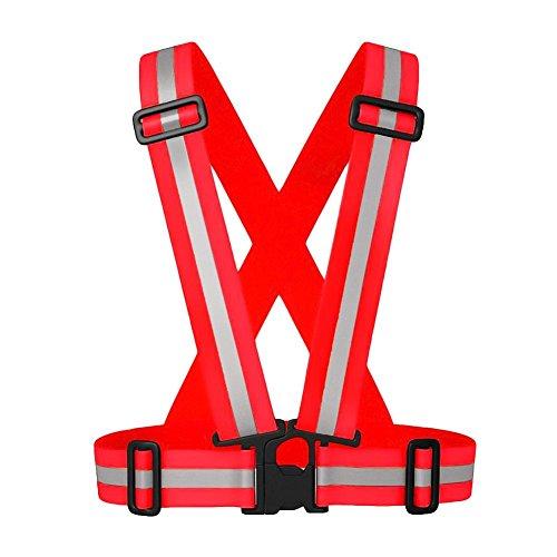 RUNMIND Adjustable Reflective Stripes Safety Vest Strap Red Adult