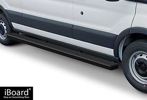 iBoard (Black Powder Coated 5 inches) Running Boards | Nerf Bars | Side Steps | Step Rails For 2015-2017 Ford Transit Full Size Van Ford Transit Van