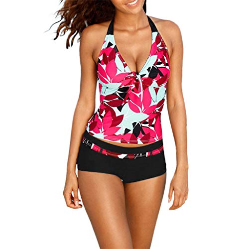 Toponly Women Tankini Sets with Boy Shorts Ladies Swimwear Two Piece Swimsuits Red