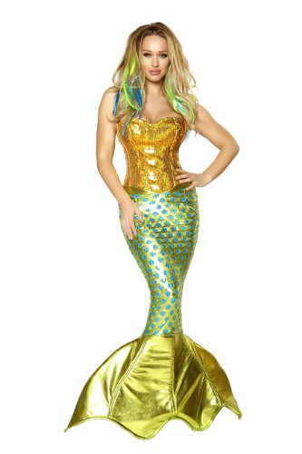 Roma Costume 2 Piece Siren Of The Sea Costume, Gold/Turquoise, Small -