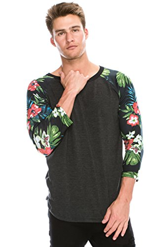 Men's Baseball Hipster Hip Hop Floral Graphic 3/4 Raglan CHARCOAL Tshirt SM