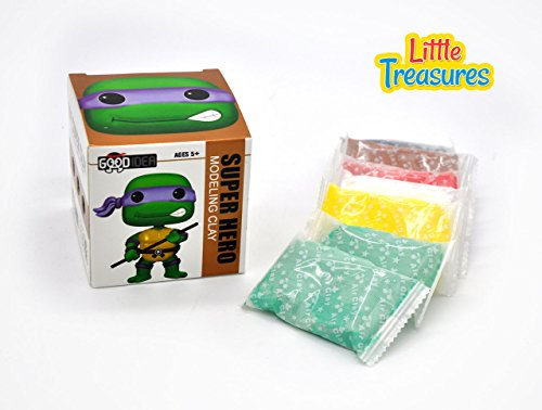 Little Treasures Turtle Ninja Clay Modeling and Sculpting DIY Play-Set - Create Your Favorite Cartoon Super-Hero Characters with molding Play-Dough kit - a Fun Arts and Craft Kid's Artist Toy Project -