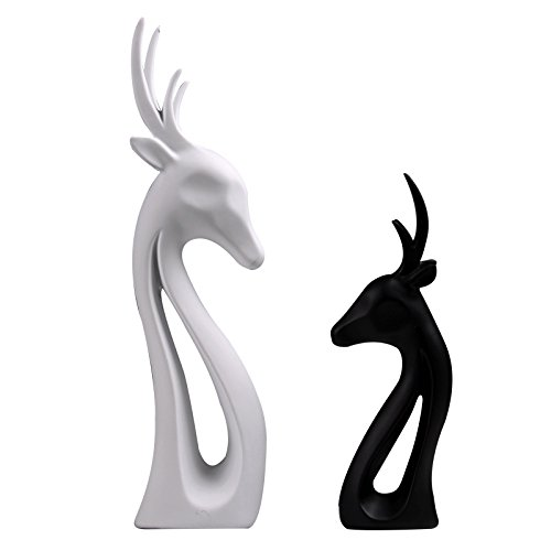 1 pair Nordic home furnishings living room TV cabinet wine cabinet window resin handicraft gift deer LU611404 (Color : Black)