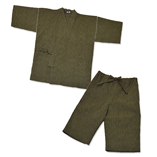 IKISUGATA Men's Jinbei Omi Chijimi Summertime Casual Wear Kasuriori LL Green by IKISUGATA