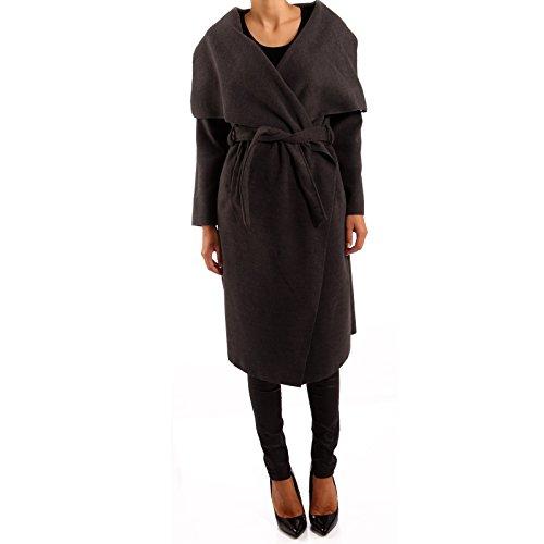 Made Italy - Manteau - Parka - Uni - Manches Longues - Femme Taille unique Gris - Anthracite