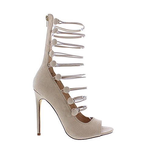 [Strappy Lace Up Single Sole High Women Heels Faux Suede Liliana Irina13(Nude 10)] (Clunky Heels)