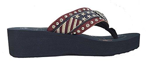 Stars USA Flops West Flag Red Montana Stripes Flip Ladies American wO7WZ6q