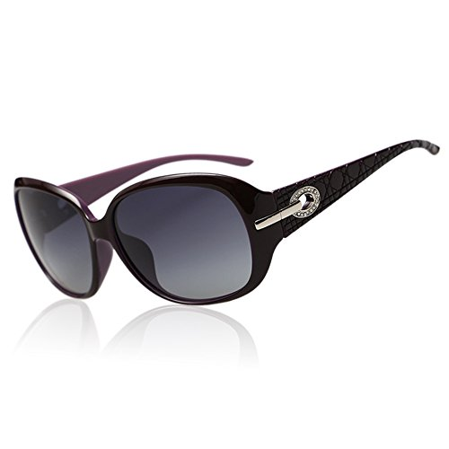Duco Women's Shades Classic Oversized Polarized Sunglasses 100% UV Protection 6214 Purple Frame Gray - Lenses Gray