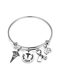 bobauna Hand Stamped Care Love Heal Expandable Wire Bangle Bracelet with RN Caduceus Stethoscope Nurse Hat Charms Nurse Doctor Medical Student Gift
