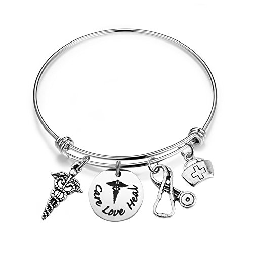 bobauna Hand Stamped Care Love Heal Expandable Wire Bangle Bracelet with RN Caduceus Stethoscope Nurse Hat Charms Nurse Doctor Medical Student Gift (Care Love heal Bracelet)