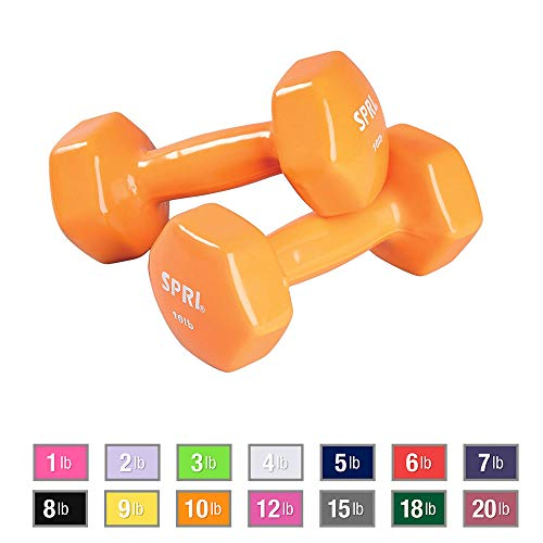 SPRI Vinyl Dumbbells, Set of 2, 10-Pound (Orange)