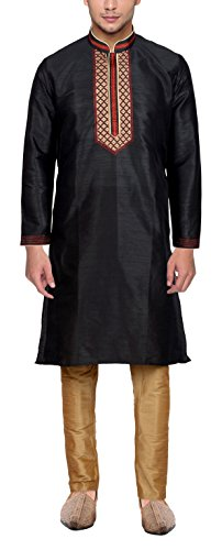 Maharaja Mens Raw Silk Embroidered Festive Kurta Pyjama Set in Black ()