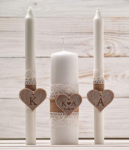 Wedding Unity Candle Set, Rustic Unity Candle Church Ceremony Set, Personalized Unity Candles, Wedding Ceremony, Custom Candle for a Vow Renewal ()