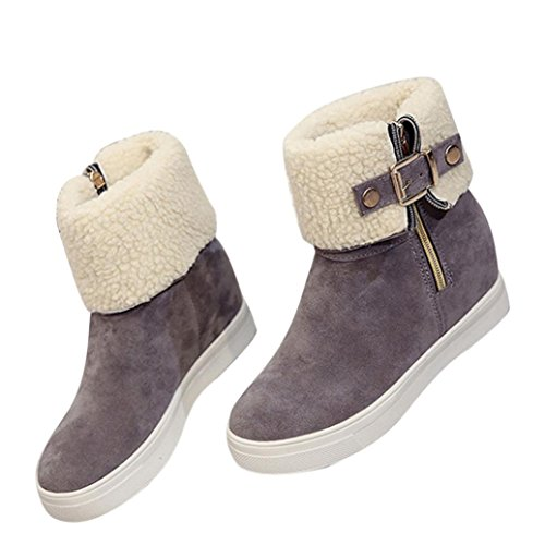 Euone Fashion Women Winter Casual Cotton Shoes Ladies Flat Warm Snow Boots Gray 7ZsnH4Roc
