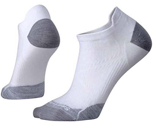 SmartWool Women's PhD Run Ultra Light Micro Socks (White/Light Gray) Small