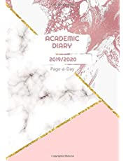 Academic Diary 2019-2020 Page A Day: A4 School Year Planner August 2019 to July 2020 Rose Pink Gold White Marble Design Cover