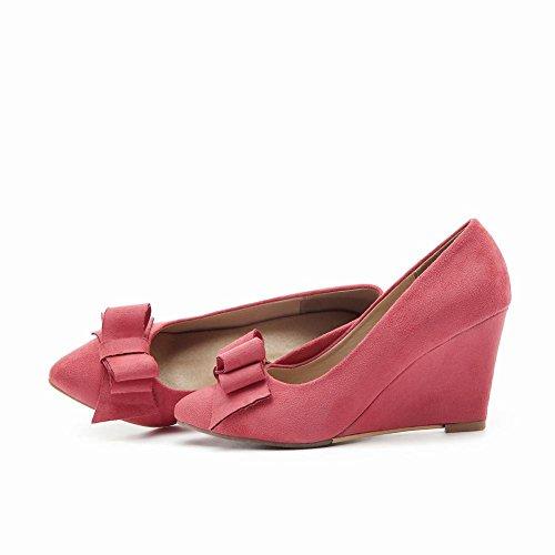 Charm Foot Mujeres Elegantes Arcos Con Punta De Cuña Zapatos De Tacón Alto Pink