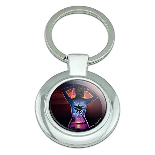 (Tropical Sunset Paradise on Woman's Back Classy Round Chrome Plated Metal Keychain)