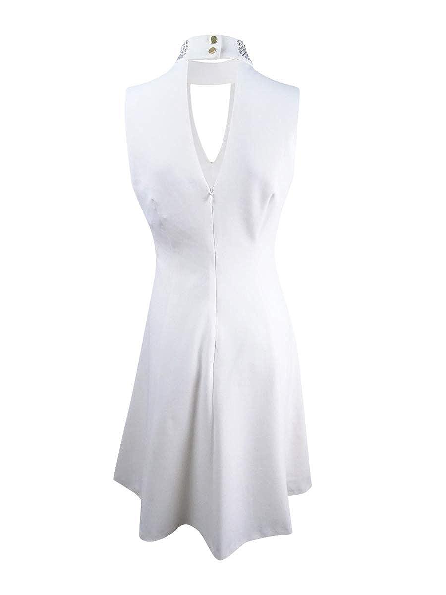 75497791fc06 Calvin Klein Women s Embellished Mock-Neck Fit   Flare Dress (14 ...