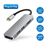 Type C Hub, USB C Hub, 5 in 1 Combo with 2 USB 3.0 Ports, SD&TF Card Reader, USB C Adapter for MacBook Pro 2016/2017, Chromebook, USB Flash Drives and Other Type-C Devices