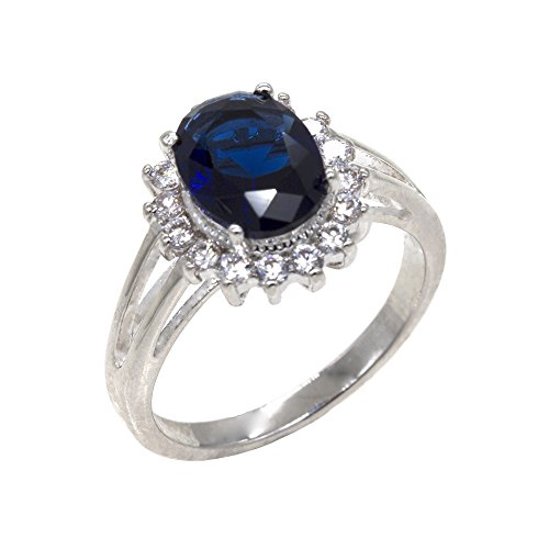 Oval Round Sapphire CZ Princess Kate Middleton Rings Wedding Party Statement Inspired Size 5 - 10 (Blue, (Princess Kate Costumes)