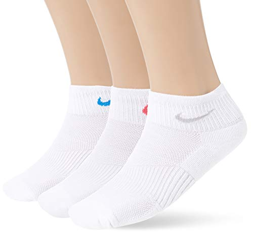 - Nike Womens Cotton Wicking Quarter Sock 3 Pack White/Wolf Grey/White/Pink/White/Light Photo Blue MD (Womens Shoe 6-10)