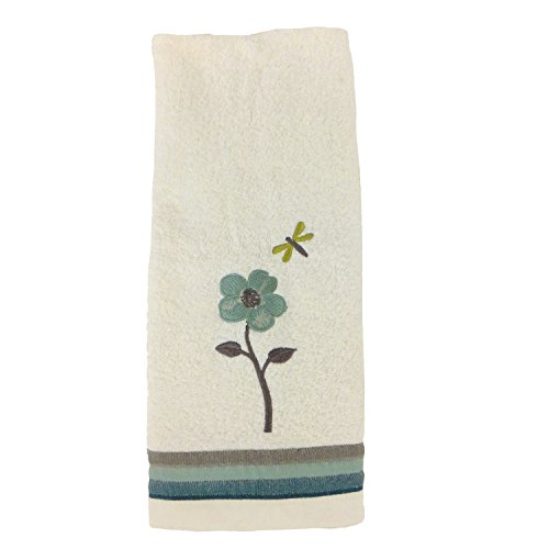 Dragonfly Hand Towel, Floral, White