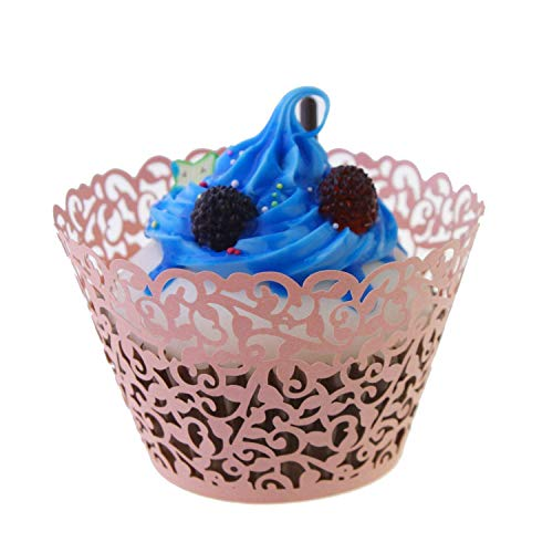 Vine lace cupcake wrappers pink - 60pcs Filigree Artistic Bake Cake Paper Cups Vine Lace Laser Cut Liner Baking Cup Wraps Muffin Case paper holders Trays for Wedding Party Birthday -