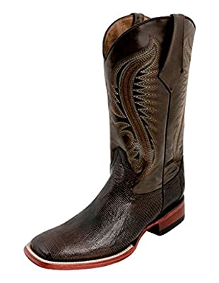 Ferrini Mens Lizard Belly Sq Toe Choc Boots