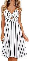 Fancyinn Robe Femmes sans Manches Boutonnee Floral Imprime Spaghetti Strap Button Down Robe Midi, Bande, L(42-44)