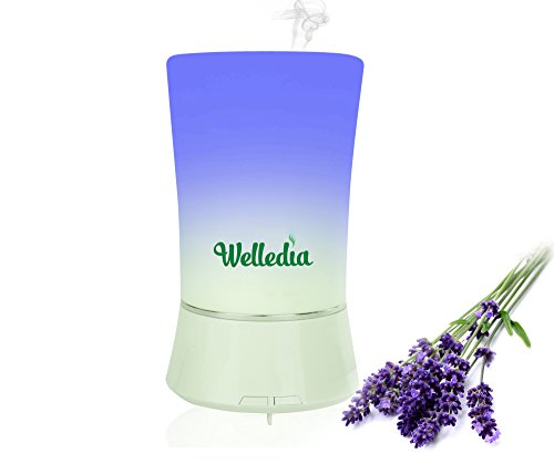 Welledia Gentle Essential Oil Diffuser, 150ml - Compact Travel Friendly Electric Aromatherapy Humidifier w/ 3 Soothing Rotating LED's + Cleaning Brush - Works 3-4 Hrs, Silent Operation, Auto-Shut Off