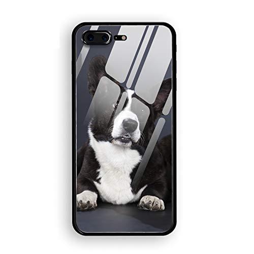Handsome Corgi Cardigan Stylish Phone 7 Plus/8 Plus Case Slim Fit Tempered Glass Compatible for iPhone 7 Plus/8 Plus Cover 5.5