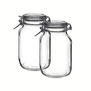 Bormioli Rocco Set OF 2 Bormioli Rocco Fido Square Jars With Clear Bail And Trigger Lids,67-3/4-ounc